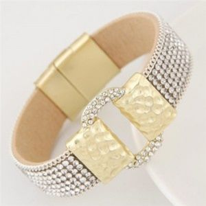 Magnetic Lock Fashion Bangle - white
